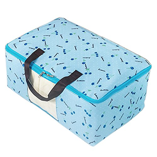 (uxcell Cherry Pattern Folding Zip Up Clothes Quilt Storage Bag Container Blue)