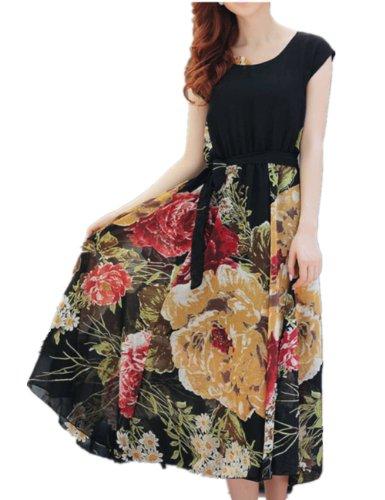 Womens Floral Boho Ball Gown Chiffon Summer Beach Short Sleeve Dress (XXL, Black)