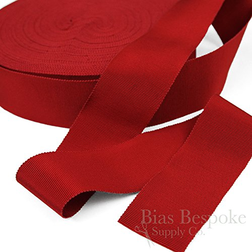 (3 Yards of Vera 2'' Cotton & Viscose Petersham Grosgrain Ribbon, Ruby Red, Made in Italy)