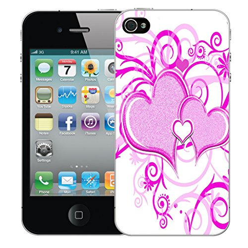 Mobile Case Mate iPhone 5s Silicone Coque couverture case cover Pare-chocs + STYLET - Purple Heart pattern (SILICON)
