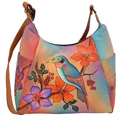 Anna By Anuschka Handpainted Leather Large Multi Pocket Hobo, Bird on a Branch