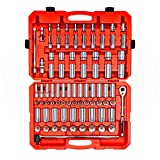 TEKTON 1/2 Inch Drive 6-Point Socket & Ratchet Set, 84-Piece (3/8 - 1-5/16 in., 10 - 32 mm) | SKT25302