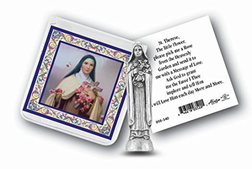 (St Therese Mini Saint Gift Set Tiny 1 Inch Long Statue & Prayer Card)