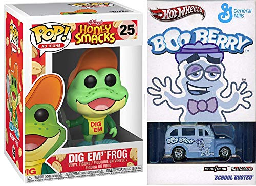 Dig in Hot Boo-Berry Cereal Box Wheels Pop Culture Exclusive Monster Limited Edition School Bus Bundled + Honey Smacks Frog Ad Icon Character 2 -