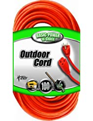 Coleman Cable 02309 16/3 Vinyl Outdoor Extension Cord, Orange...
