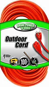 Coleman Cable 23098803 02309 16/3 Vinyl Outdoor Extension Cord, Orange, 100-Feet