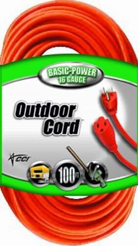 Coleman Cable 02309 16/3 Vinyl Outdoor Extension Cord, Orange, 100-Feet