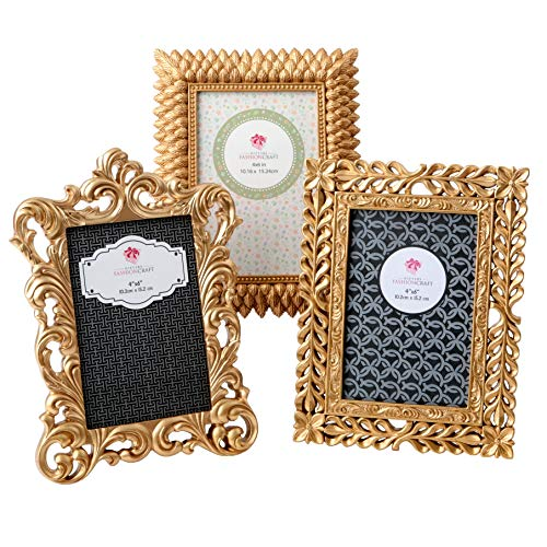 (Gold Vintage Baroque Ornate Antique Picture Frames ~ Set of 3 Frames for 4 x 6 inch Photos~ Perfect for Wedding Vacation Graduation Or Any Milestone Photo )