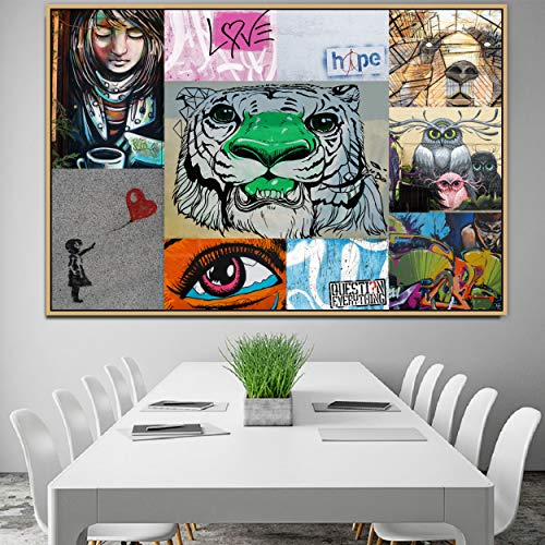 Question Everything Graffiti Urban Street Art Mural Canvas Painting Poster and Print POP Wall Art Pictures for Wall Art Decor Big Questions (Best Way To Study For Mpre)