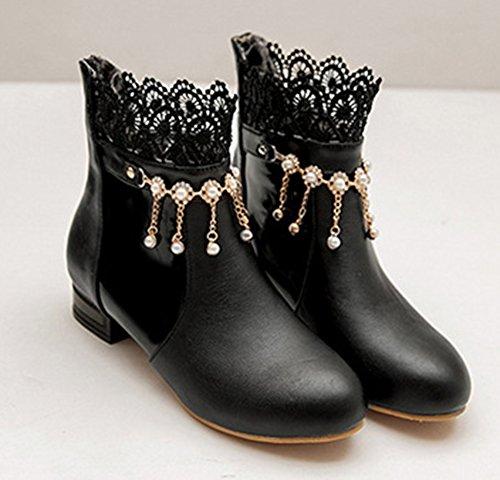 Bottines Aisun Low Chic Boots Dentelle Noir Franges Strass Femme 0q0Or