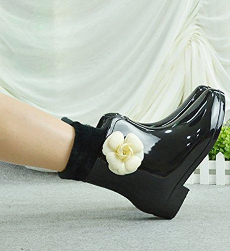 LvRao Mujeres Zapatos de Lluvia de Tobillo Alto Impermeable Lindo Botas de Jardín Botines de Goma Negro