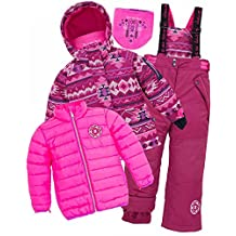 Deux par Deux Girls' Raspberry 3-Piece Snowsuit Nevada Girls, Sizes 5-14