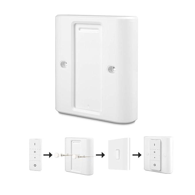 Rhodesy Interruptor Luz Tapa para Philips Hue Interruptor de Atenuación Inalámbrico Inteligente, Adaptador Blanco Altamente Compatible Tapa, Adecuado para ...
