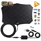 TV Antenna,[2019 Upgraded] Amplified Indoor HD Digital Television Antenna Long 120 Miles Range – Support 4K 1080p and All Older TV's Powerful HDTV Amplifier Signal Booster - 18ft Coax Cable/AC Adap