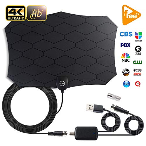 TV Antenna,[2019 Upgraded] Amplified Indoor HD Digital Television Antenna Long 120 Miles Range - Support 4K 1080p and All Older TV's Powerful HDTV Amplifier Signal Booster - 18ft Coax Cable/AC Adap
