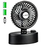 E-More Battery Operated Desk Fan, Mini USB Personal Table Fan, Stepless Speed Regulation, Super Quiet, Powered by USB or Rechargeable Battery, Small Fan Cooling for Office Desk Bedroom Outdoor(Black)