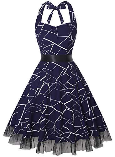 - OTEN Women's Vintage Polka Dot Halter Dress 1950s Floral Sping Retro Rockabilly Cocktail Swing Tea Dresses (Navy White Stripe, S)
