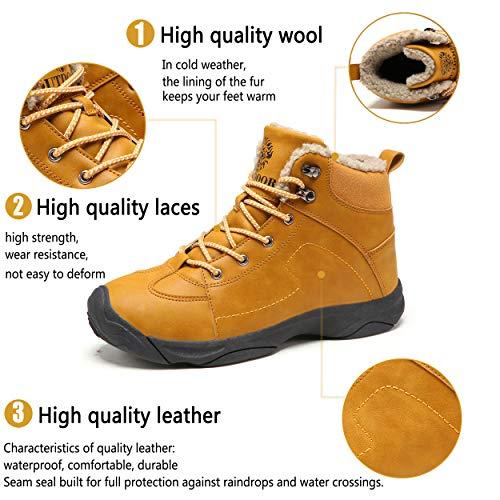 Axcone Homme Femme Chaussures Trekking Randonnée Bottes de Neige Hiver Imperméable Outdoor Boots Fourrure Cuir… 3