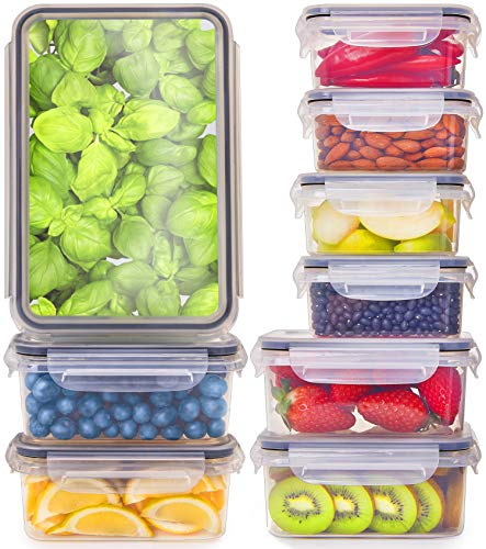 [9-Pack] Food Storage Containers with Lids - Plastic Food Containers with Lids - Plastic Containers with Lids BPA Free - Leftover Food Containers - Airtight Leak Proof Easy Snap Lock ()