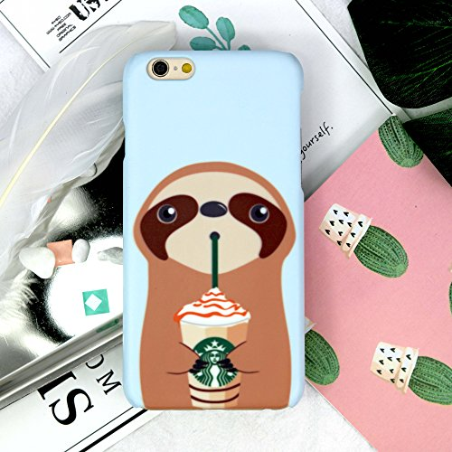 Drinking Coffee Sloth matt finishes Rigid Hard Phone case Cover for Apple iPhone X 8 8+ 7 6S SE 5 Samsung Galaxy S8 S9 Plus Note 8 Original by celia's store (iPhone Xs Max)