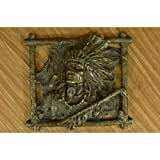 Gorgeous Wall Mount Native Indian Chief with peace Pipe Bronze Sculpture Statue Figurine