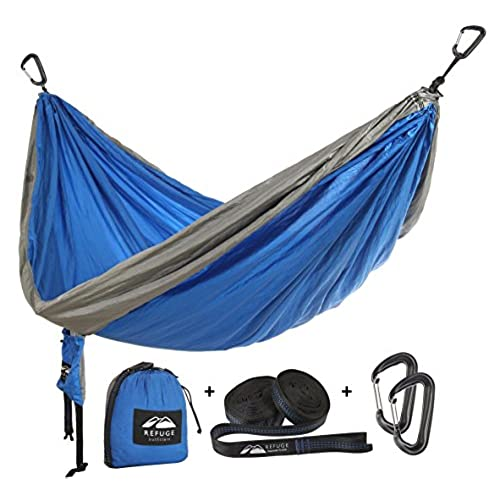 double camping hammock with free hammock straps for tree and 2000 lb carabiners for camping hiking highlining with by refuge outfitters startup with a     cold weather hammock  amazon    rh   amazon