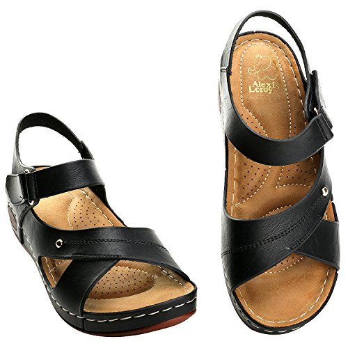 Sandalo Estivo Alexis Leroy Cinturino Alla Caviglia Comfort Sandali Open Toe Donna Nero