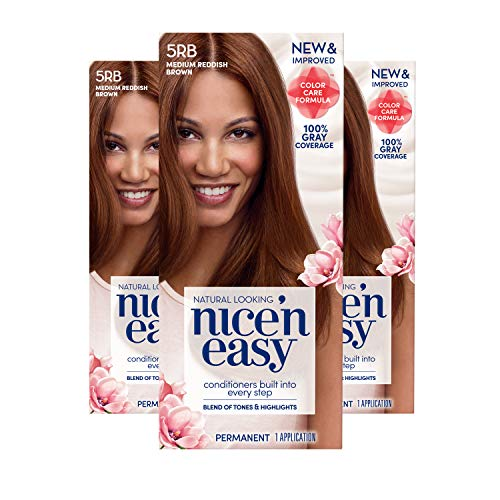 Clairol Nice 'n Easy Permanent Hair Color, 5RB Medium Reddish Brown, 3 Count (Packaging May Vary)