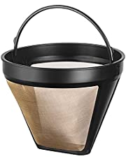 NRP Bigger #4 Permanent Gold-tone Coffee Filter 12-cup for Krups SAVORY, Braun, DeLonghi Cone Filter