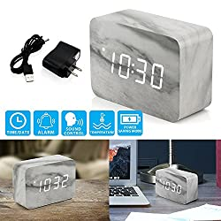 Oct17 Marble Pattern Alarm Clock, Fashion Multi-function LED Alarm Clock with Snooze and USB Power Supply, Voice Control, Timer, Thermometer