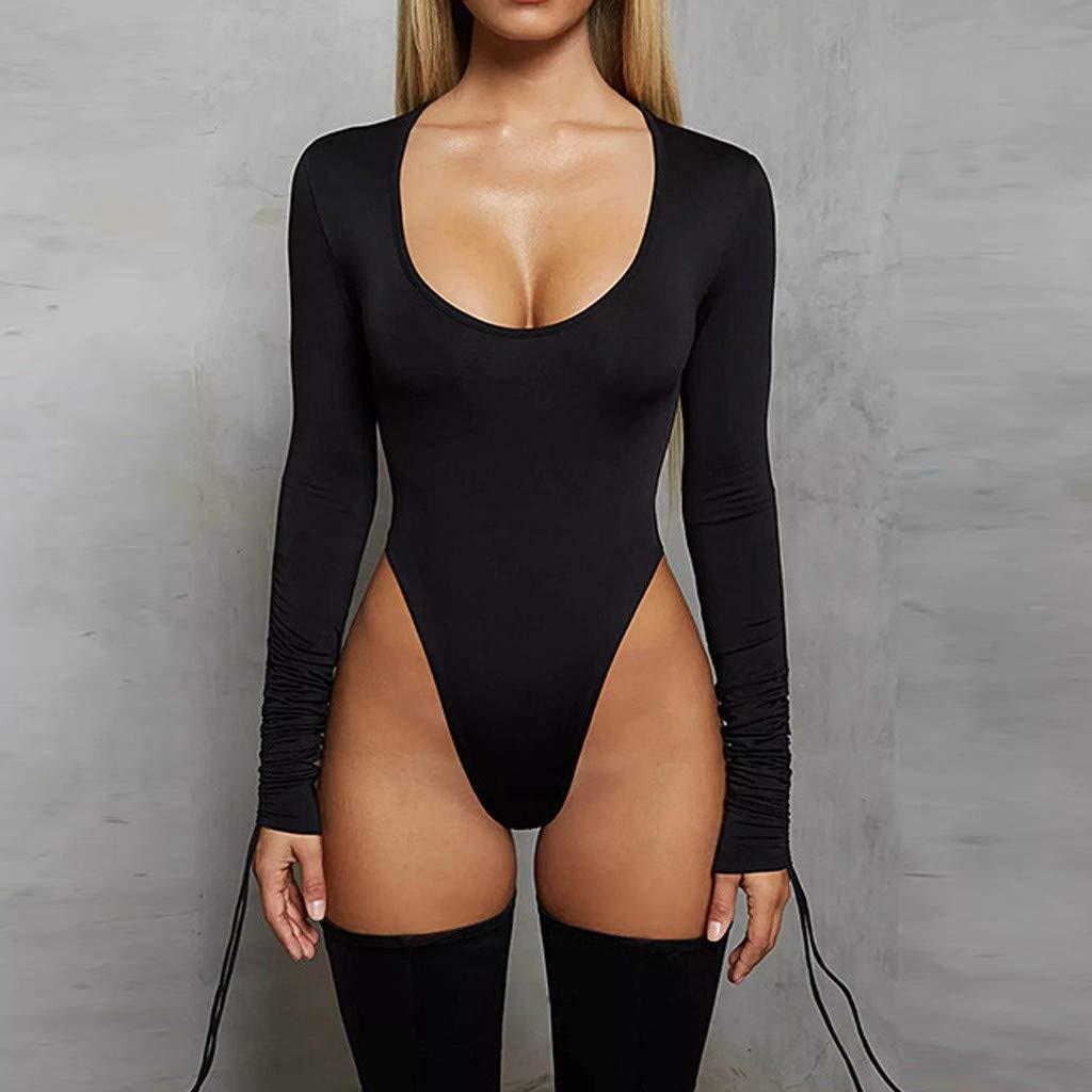 Mymyguoe Mode Jumpsuit Damen Bodycon Bodysuit Langarm Unterw/äsche Stehkragen Outfit Bandage Schwarz Top Overalls Bodys