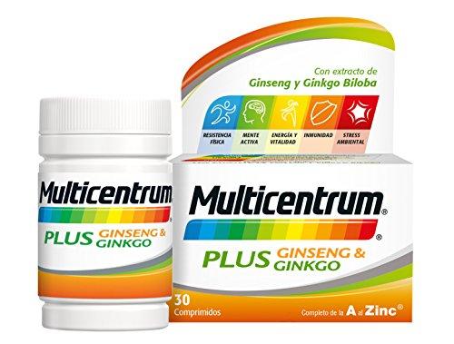 Multicentrum Plus complemento alimenticio con 13 Vitaminas, 8 Minerales, Ginseng y Ginkgo Biloba, Con Vitamina B1, Vitamina B6, Vitamina B12, Hierro, Vitamina C, Vitamina D, 30 Comprimidos 3