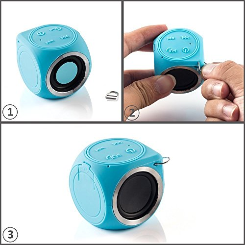 Chukchi Portable Mini Cute Wireless Speaker IP67 Water Resistant Shower Bluetooth Speaker for iPhone Series and Android Phones blue ()