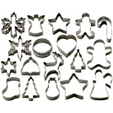 StarPack Holiday Cookie Cutters Set (18 Piece) - Favorite Winter Shapes including Gingerbread Man, Star and Snowflake - Bonus 101 Cooking Tips