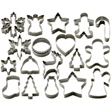 StarPack Christmas Cookie Cutters Set (18 Piece) – Favorite Holiday Shapes including Gingerbread Man, Star and Snowflake - Bonus 101 Cooking Tips