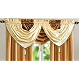 Faux Silk Beaded Curtain Swag (Cream)