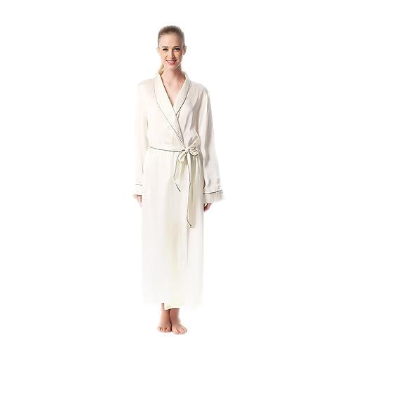 Jasmine Silk Luxury Pure Silk Dressing Gown Robe Kimono Ivory ...