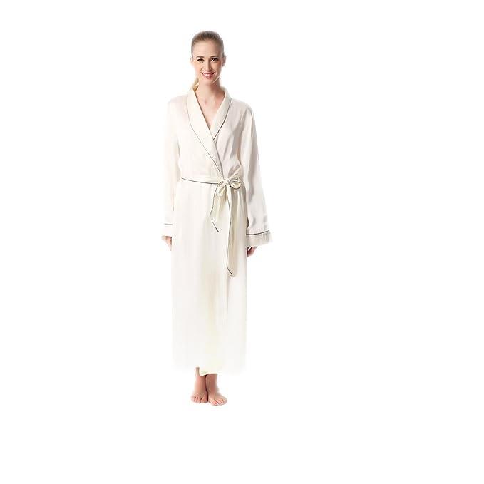 4506bcfece JASMINE SILK Luxury Pure Silk Dressing Gown Robe Kimono Ivory   Amazon.co.uk  Clothing