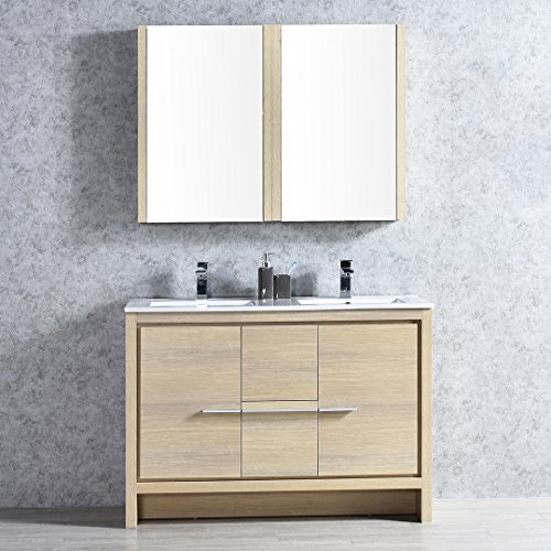 BLOSSOM 014-48-20-DMC Milan 48″ Double Vanity Set with Medicine Cabinets Briccole Oak