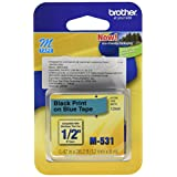 Brother Tape Cartridge 0.5IN Wide, Non-laminated Black On Blue ( M531 )