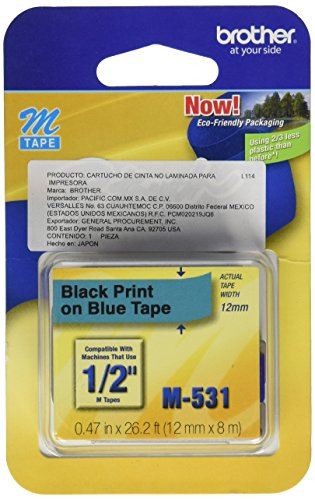 Brother Tape Cartridge 0.5IN Wide, Non-laminated Black On Blue ( M531 ) ()