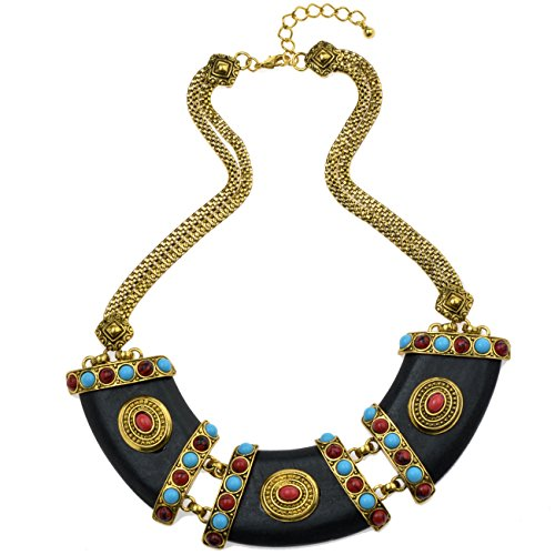 TAGOO Greek Goddess Vintage Gold-Tone Coin Chunky Pendant Statement Necklace for Women&Girls (gold (Cheap Greek Goddess Costume)
