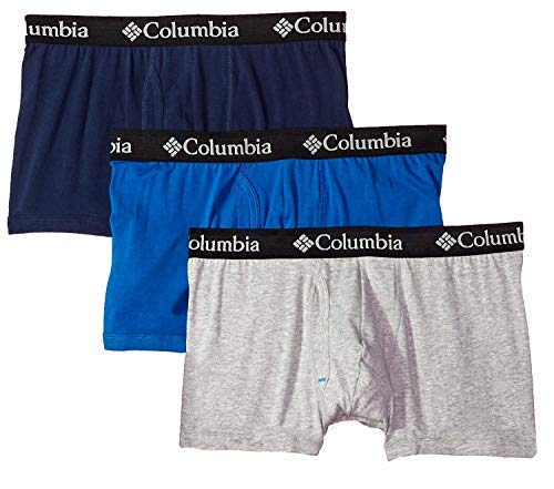 Columbia Men's 3-Pack Cotton Stretch Trunks (New Gry/Dress/CLCBL, Small) by Columbia