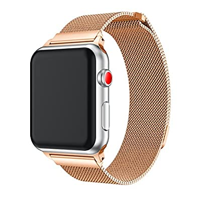 Apple Watch Band 38mm/42mm, Fully Magnetic Closure Clasp Mesh Loop Milanese Stainless Steel Replacement Bracelet Strap for iWatch Band Series 3/ 2/ 1 (2PCS-A, 38MM)