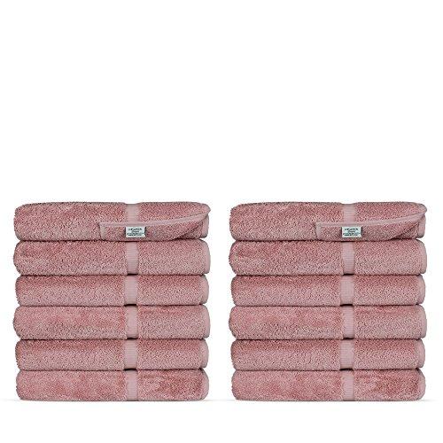 Luxury Premium Long-Stable Hotel & Spa Turkish Cotton 12-Piece Eco-Friendly Washcloth Set (Pink)