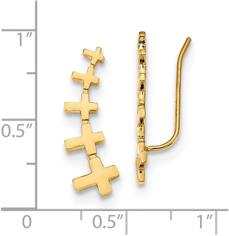 14kt Yellow Gold Gold Cross Polished Bar Earrings