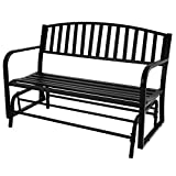 Belleze 50-Inch Outdoor Patio Glider Bench Rocker Swing Loveseat Seat Steel Frame, Black