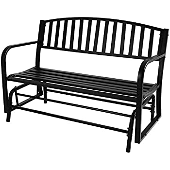 Belleze 50 Inch Outdoor Patio Glider Bench Rocker Swing Loveseat Seat Steel  Frame, Black