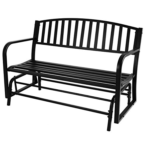 Belleze 50-Inch Outdoor Patio Glider Bench Rocker Swing Loveseat Seat Steel Frame, Black (Aluminum Gliding Loveseat)