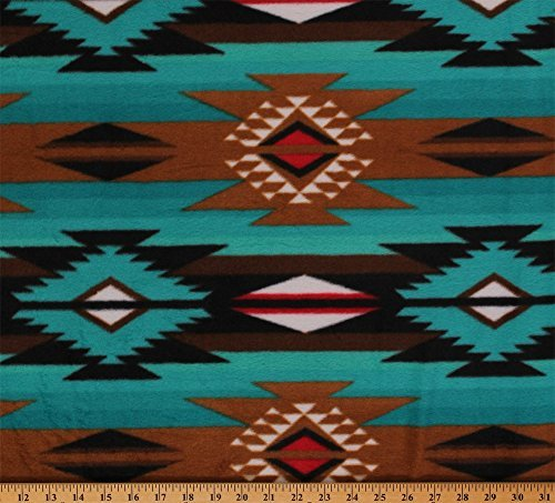 Raindance Teal Brown Southwest Fleece Fabric Print by the Yard ()